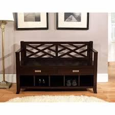 decorative black wooden storage bench in purple interior design