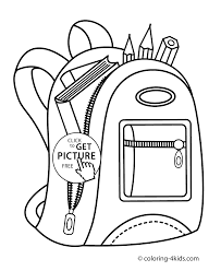 backpack for coloring page for kids printable free