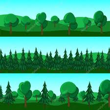 horizontal banners of and trees stock vector
