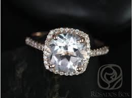 white topaz engagement ring rosados box barra 9mm 14kt gold white topaz and