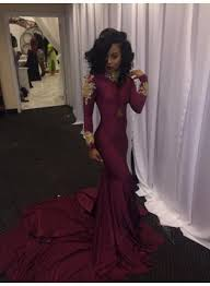 2017 appliques high neck mermaid burgundy long sleeves prom