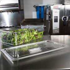 Osaka Vegetable Storage Containers Full Size Clear Polycarbonate Food Pan Lid With Handle