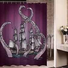 Octopus Bathroom Accessories by Stunning Purple Octopus Kraken Attacking A Ship Shower Curtain