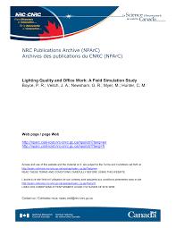 bureau avec ag e int r lighting quality and office work a field pdf available