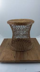 Wicker Accent Table Vintage Bamboo Tables Boho Bentwood Rattan Woven Side Tables