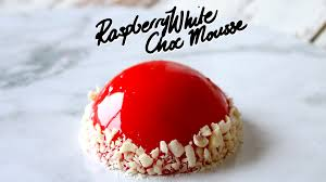raspberry white chocolate mirror glaze mousse the scran line