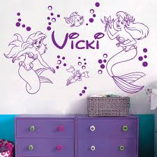 online get cheap mermaid wall decals aliexpress com alibaba group custom name mermaid vinyl wall decal sticker art homedecor nursery princess girls room mural decals personalzied