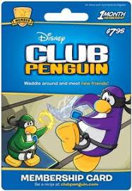 club penguin gift card club penguin membership code card
