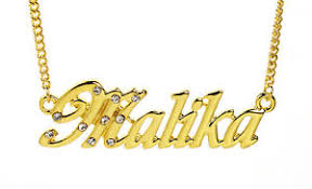 Gold Chain With Name 18k Gold Plated Necklace With Name Malika Birthday Name Chain