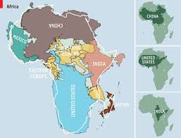 africa continent map a pair of maps demonstrating the true geographical size of the
