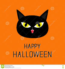 black cat head yellow eyes fangs happy halloween greeting card