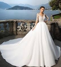 wedding dresses uk uk white ivory satin lace sleeve cathedral wedding