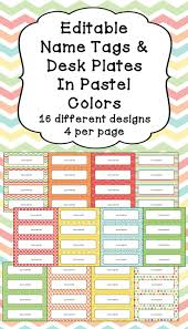 editable name tags and desk plates in pastel colors desks texts