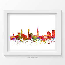 Home Decor Oklahoma City by Leicester England Poster Leicester Skyline Leicester