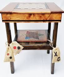 Outdoor Checker Table Made From Table Wood Board Backgammon Checkers