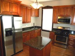 kitchen interior brown wooden l shaped kitchen cabinet with