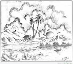 pencil sketch scenery drawing art u0026 skethes