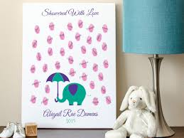 baby shower sign in baby guest book elephant raindrop fingerprints 8x10