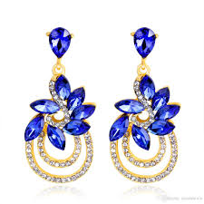 royal blue earrings 2018 2 inch gorgeous new drop 18k gold big royal blue