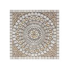 shop style selections medallions multi colored mosaic travertine