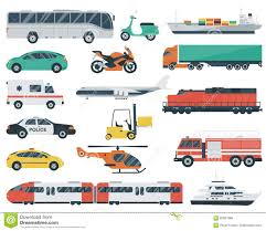 transportation icons set city cars and vehicles transport car