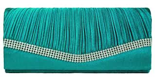 Teal Blue Pleated Satin Wedding Evening Bridal Clutch Purse With