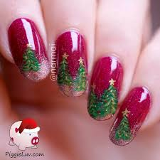 piggieluv christmas trees nail art