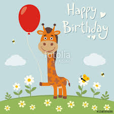 happy birthday funny mouse with red balloon on flower meadow