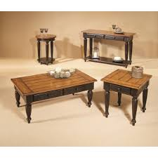 coffee table 3 piece coffee table set country style two tone wood