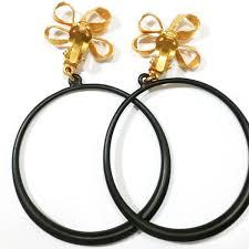hoop clip on earrings chanel vintage 24k gold plated ribbon flower shape large