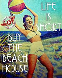 Vintage Beach Decor Beach Photograph Life Is Short Buy The Beach House Retro 1940s