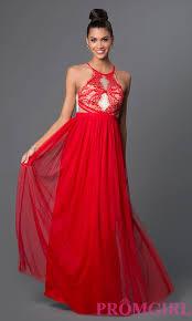 lace top back keyhole long chiffon dress promgirl