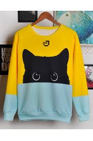 reviews for lovely cat printed color block long sleeve round neck