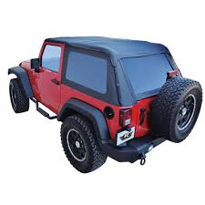blue jeep 2 door rampage 139935 wrangler jk soft top kit trailview frameless 2007