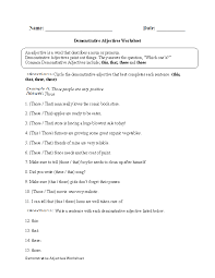 regular adjectives worksheets demonstrative adjectives worksheet