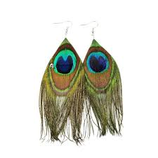 mardi gras earrings 2017 fashion peacock feather dangle earrings for women jewelry