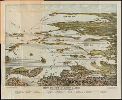 Map Of South Shore Boston by Bird U0027s Eye View Of Boston Harbor In Colors Along The South
