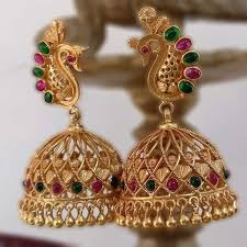 temple design gold earrings different designers different design patterns jewelry