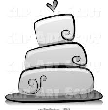 wedding cake outline clipart of a grayscale wedding cake with a heart by bnp design