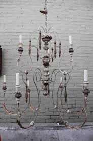 Chandelier Covers Sleeves Nine Light Italian Painted Chandelier With Wood Tassels For Sale