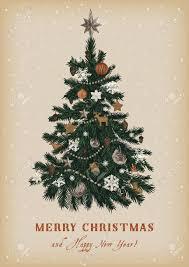 christmas tree vector vintage illustration merry christmas