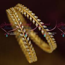 white gold leaf bracelet images B11466 ad white marquise stones leaf design party wear bangles JPG