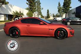 red maserati maserati granturismo sport wrapped in matte rose red wrap bullys