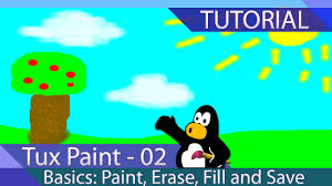 tux paint tutorial 02 basics paint erase fill text and