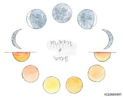 watercolor hand drawn art sketch of moon and sun moon phases the