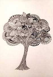Classic Tree Tree Zentangle Drawing Black And White By Theeclecticelephant