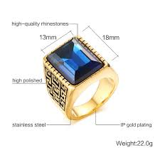 aliexpress buy u7 classic fashion wedding band rings nobby blue rhinestones gold color men ring 18mm wedding band