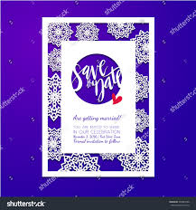 save date card laser cutting pattern stock vector 483089788