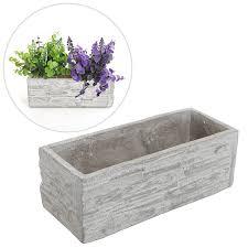 amazon com gray cement rectangular succulent plant flower pot