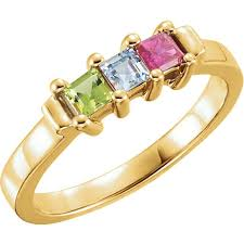 gold mothers ring gold 1 to 5 square stones s ring